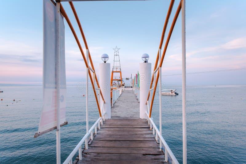 Boardwalk at Morong Beach, Bataan, Philippines.  royalty free stock photo