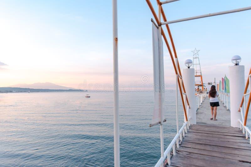 Boardwalk at Morong Beach, Bataan, Philippines.  stock photos