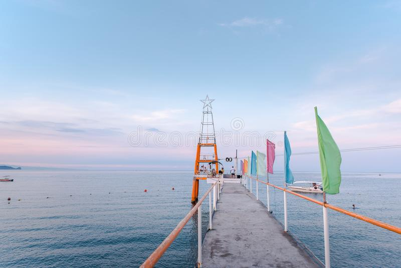 Boardwalk at Morong Beach, Bataan, Philippines.  stock image