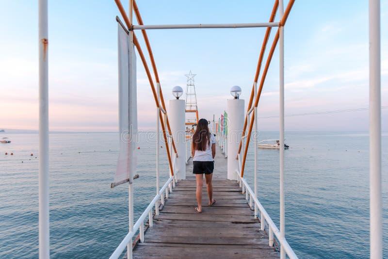 Boardwalk at Morong Beach, Bataan, Philippines.  stock photography