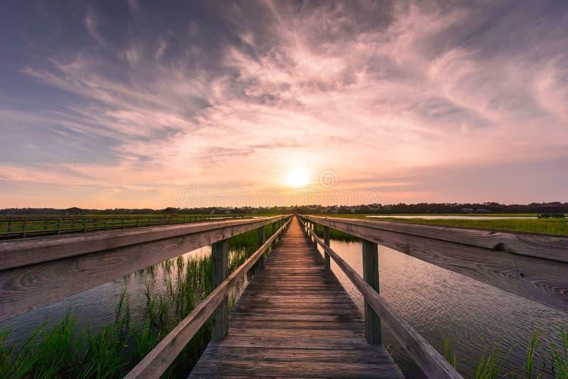 Boardwalk over salt marsh at sunset stock photo