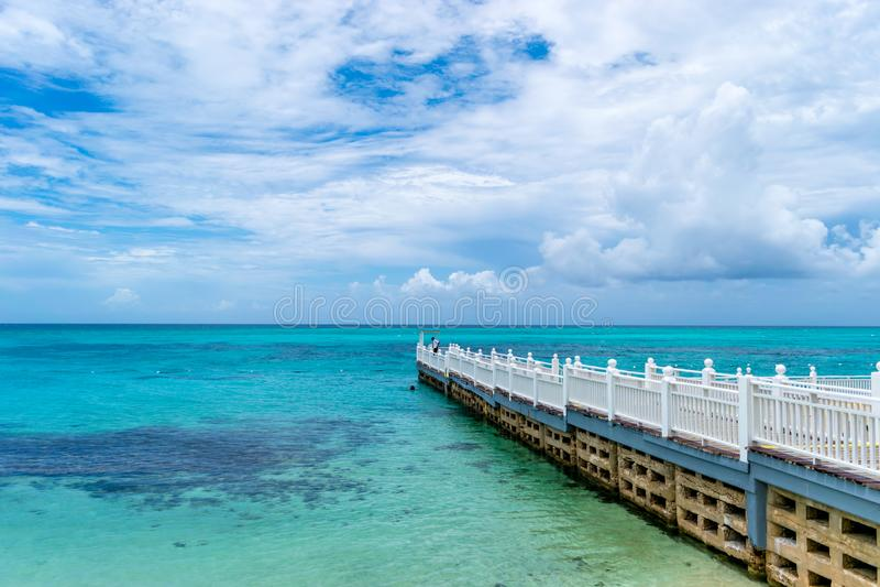 Boardwalk/pier/jetty/dock on tropical beach resort royalty free stock photos