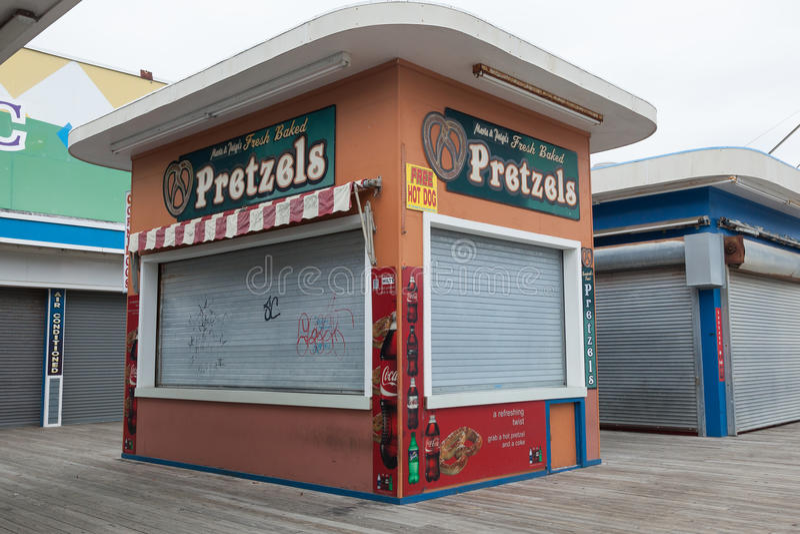 Boardwalk Pretzel Stand. SEASIDE HEIGHTS, NEW JERSEY - March 21, 2017: A closed boardwalk pretzel stand royalty free stock photo