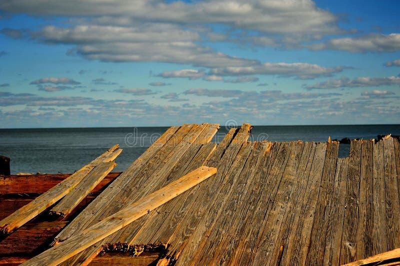 Boardwalk remnants royalty free stock photo