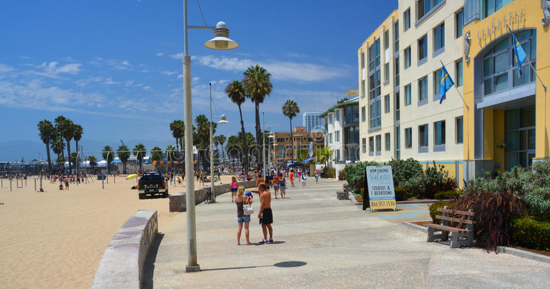The Boardwalk at Santa Monica, Los Angeles USA. royalty free stock image