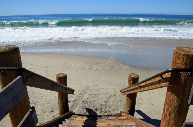 Boardwalk stairway to Main Beach in Laguna Beach, California. Image shows a stairway to Main Beach in aguna Beach, California. Photo taken after a series of royalty free stock images