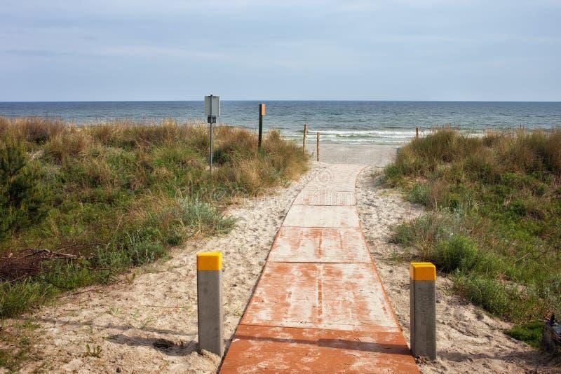 Boardwalk to the Beach at Baltic Sea in Jastarnia stock photography
