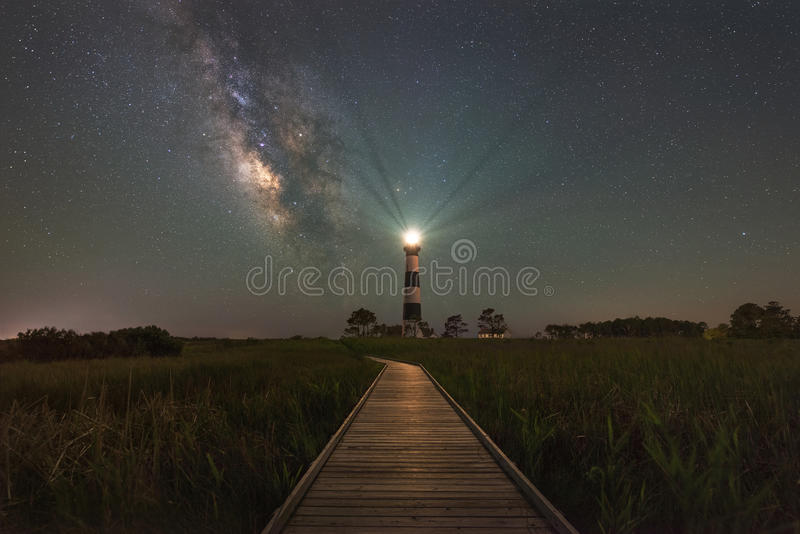 Boardwalk To Bodie Light and The Milky Way Galaxy. The gorgeous night sky behind Bodie Island Light stock images
