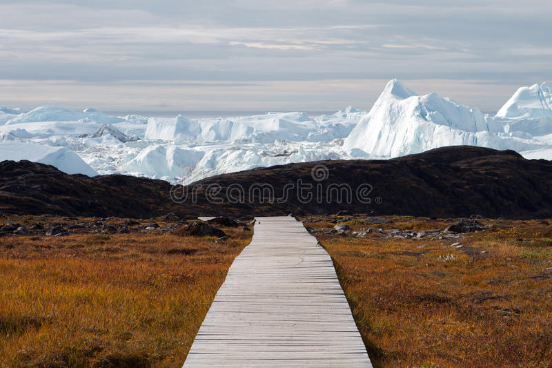 Boardwalk to the icefjord royalty free stock photo