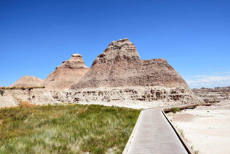 The Boardwalk Trail Badlands NP stock photo
