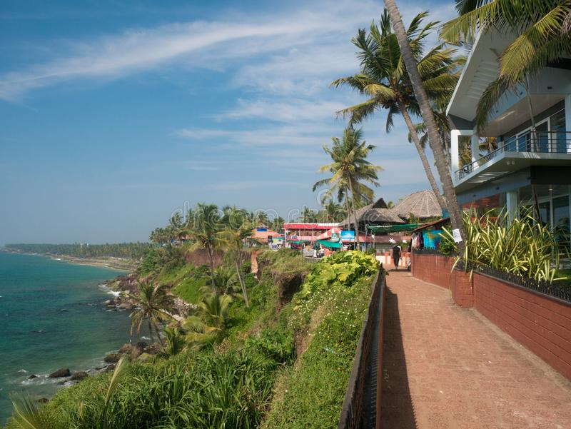 Boardwalk Varkala, Kerala, India obraz stock