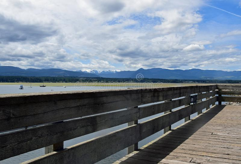 Boardwalk view at the Comox Valley Marina. Pier, Comox Vancouver Island, BC Canada royalty free stock photography