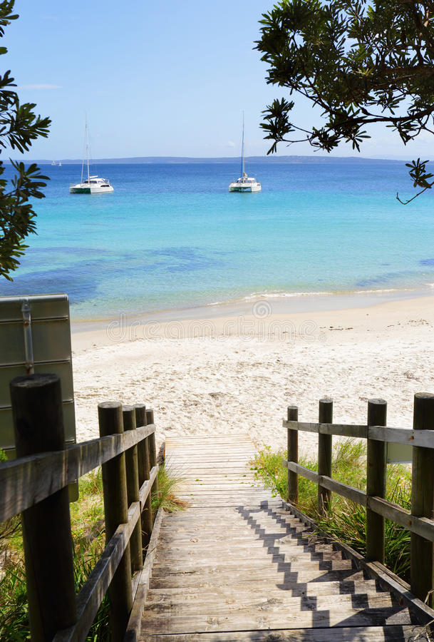 Boardwalk views Cabbage Tree beach Australia. The viiews visitiors are greeted with from the timber boardwalk and stairs at Cabbage Tree Beach, NSW Australia stock image