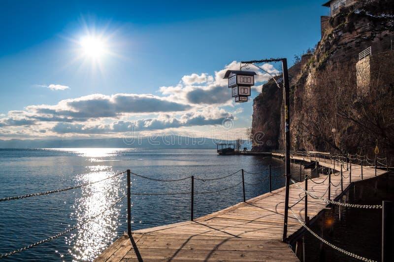 Boardwalk on waterfront, Ohrid, Macedonia. Boardwalk along waterfront of Ohrid, Macedonia on sunny day stock photo