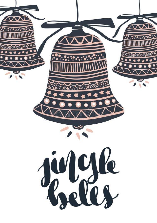 Boas festas Cartão bonito caligrafia preta riscada da palavra do texto Cópia tirada mão do t-shirt do convite ilustração royalty free