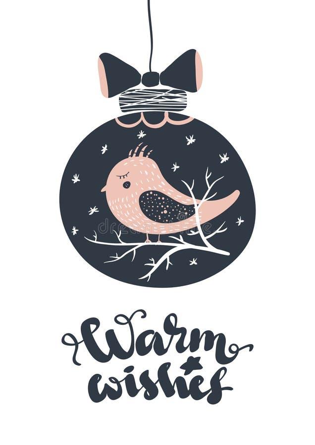 Boas festas Cartão bonito caligrafia preta riscada da palavra do texto Cópia tirada mão do t-shirt do convite ilustração stock