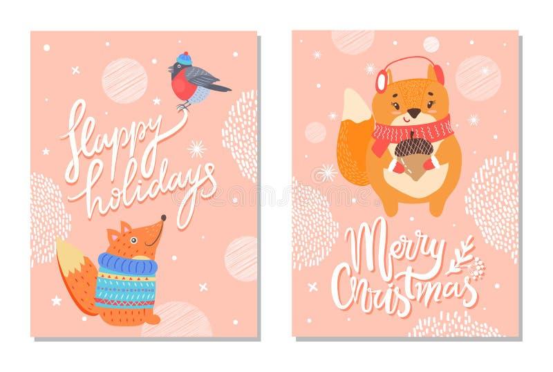 Boas festas cartão com bolota dos esquilos ilustração royalty free