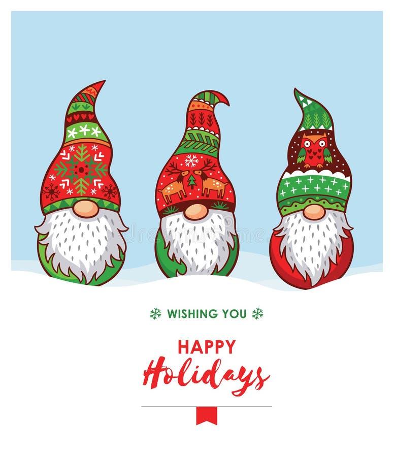 Boas festas cartão com gnomos do Natal no chapéu vermelho, verde ilustração royalty free