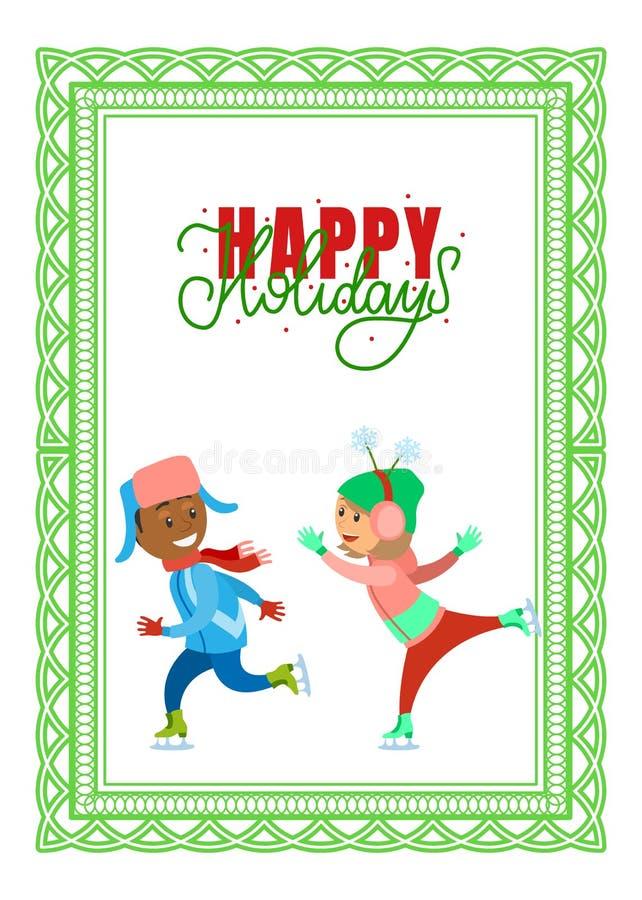 Boas festas cartão, crianças na pista de patinagem ilustração royalty free