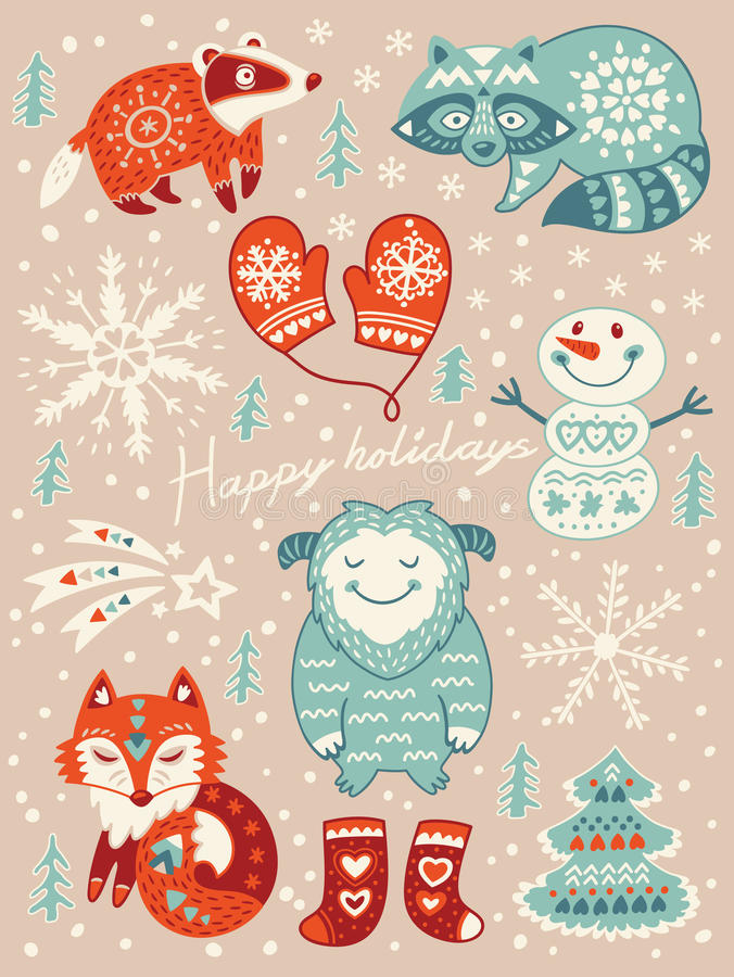 Boas festas cartão Natal ajustado com personagens de banda desenhada Ilustração do vetor ilustração do vetor