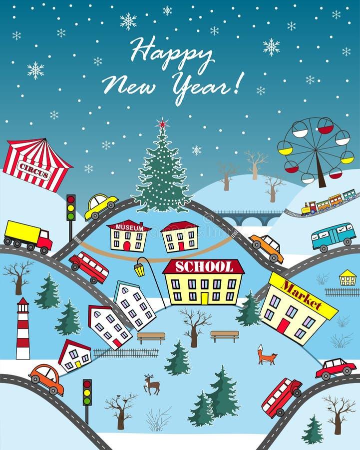 Boas festas cartão sazonal Cidade dos montes do inverno Ilustração do vetor ilustração royalty free
