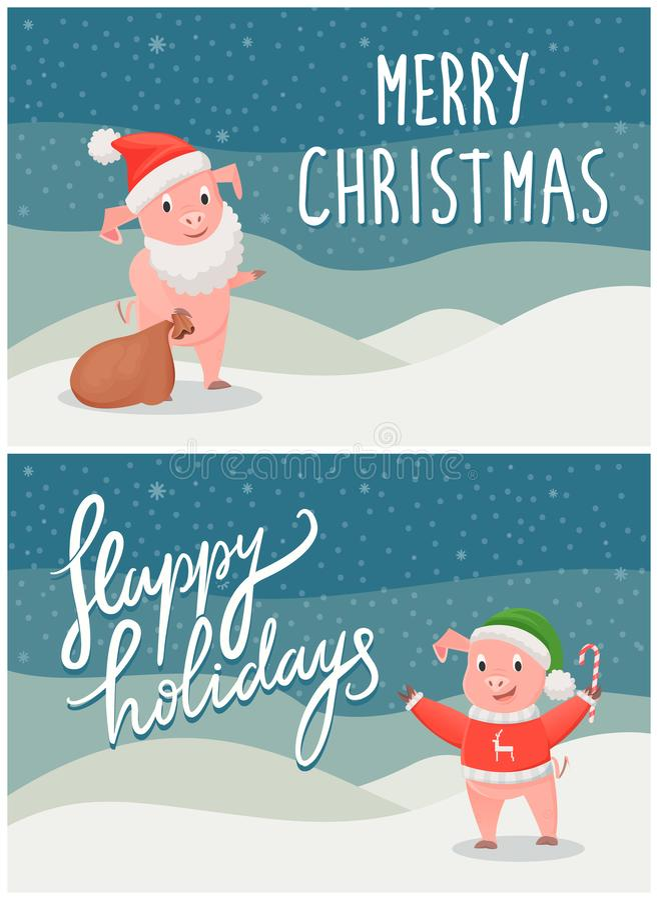 Boas festas e porcos dos cartão do Feliz Natal ilustração royalty free