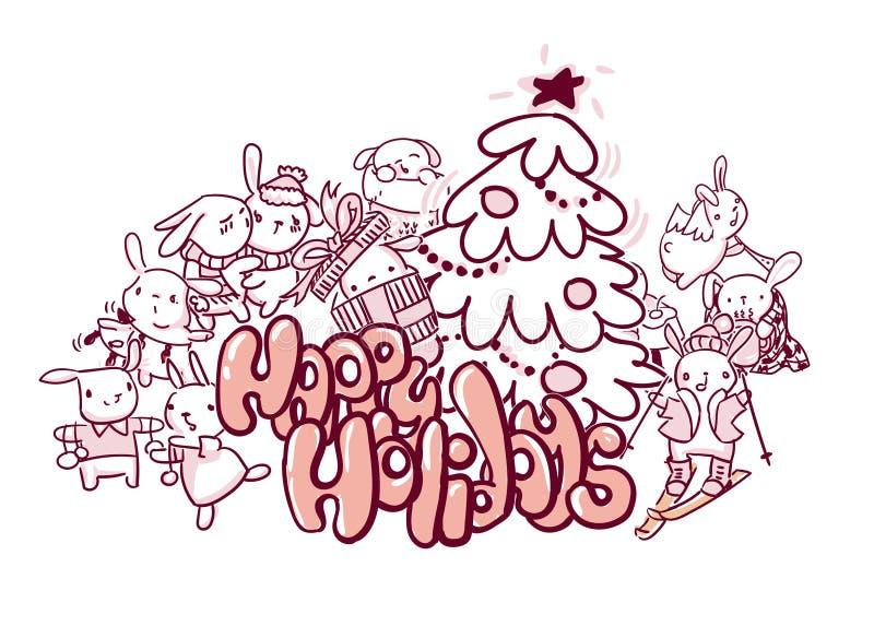 Boas festas estilo da garatuja do cartão de Natal dos coelhos ilustração do vetor