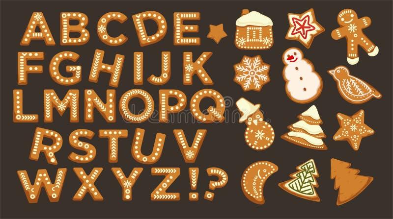 Boas festas, o ABC do Natal rotula a fonte, vetor do projeto gráfico ilustração stock