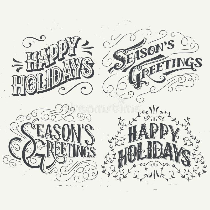 Boas festas título tipográficos tirados mão ilustração stock