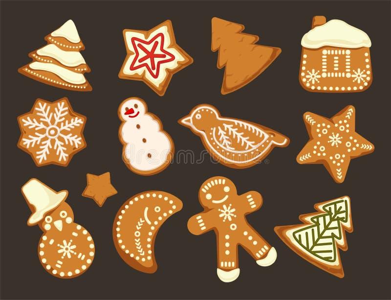 Boas festas, vetor do projeto gráfico das cookies do traditonal do Natal ilustração stock