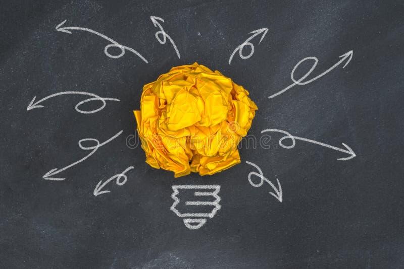 Boas ideias novas, bola de papel no quadro-negro imagem de stock
