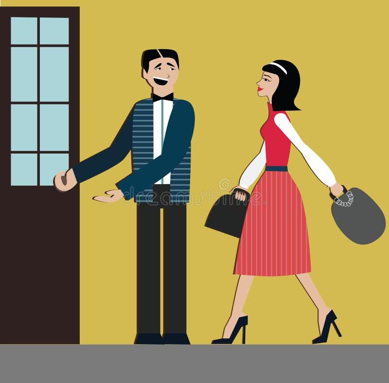 Boas maneiras o homem abre a porta para a mulher etiquette decorum Mulher da compra vestido elegante e montes Mulher chinesa ilustração do vetor