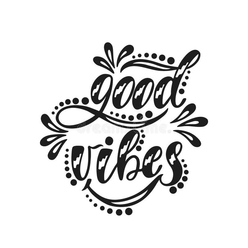 Boas vibrações Citações positivas inspiradas ilustração do vetor