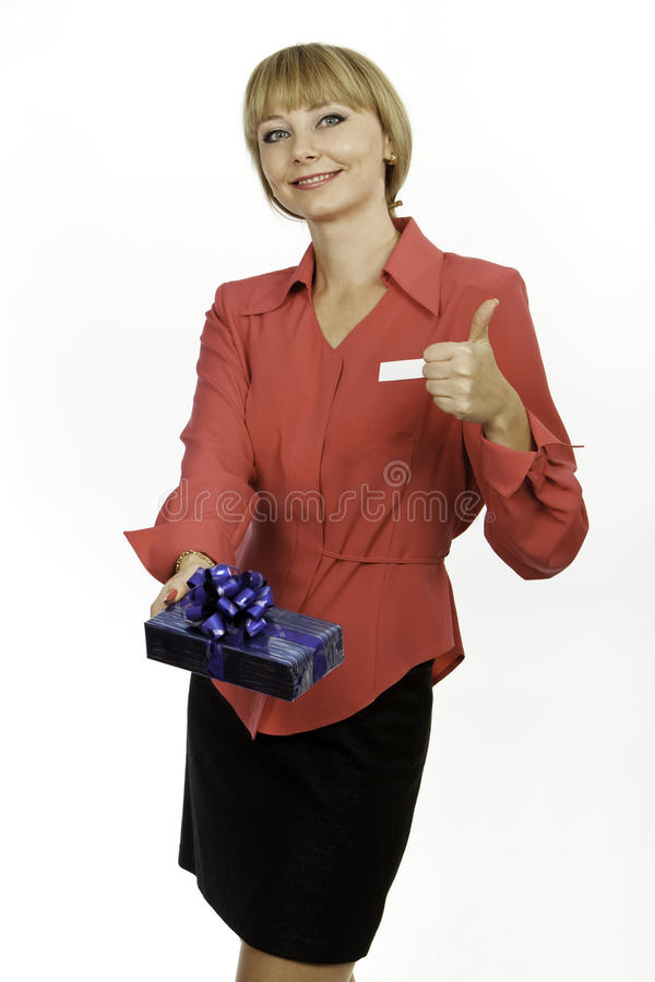 Boas vindas louras novas do consultante da mulher foto de stock