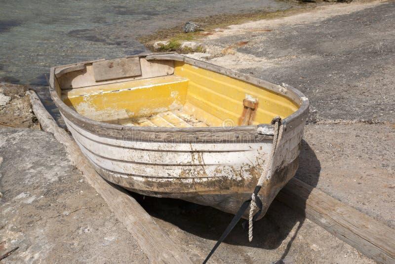 Boast in Portinatx Port; Ibiza stock image