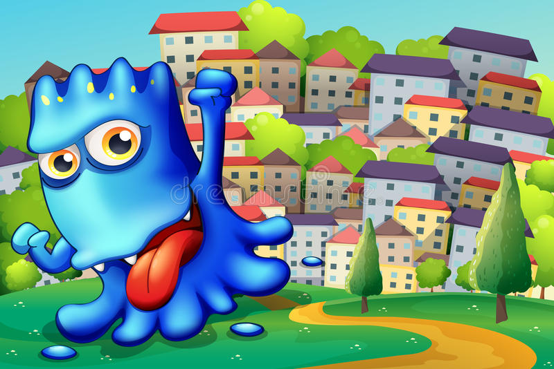 Download A Boastful Blue Monster Above The Hill Across The Buildings Stock Vector - Image: 35321853