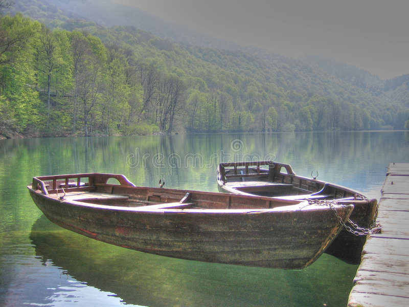 Boat. On the lake Biogradsko in Montenegro stock photography