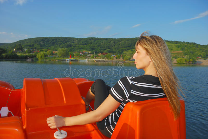 Download On boat stock image. Image of lake, young, hair, outdoor - 14696253