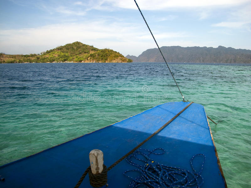 On a boat. Sailing on a Bangka in the Philippines royalty free stock images