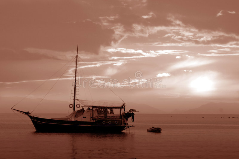 Download The boat stock image. Image of clouds, colors, boat, sepia - 30151