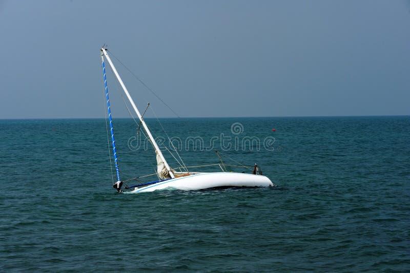 Boat adrift on Adriatic Sea royalty free stock photos