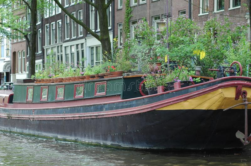 Boat in Amsterdam, Holland. Amsterdam is the capital and most populous municipality of the Kingdom of the Netherlands. Its status as the capital is mandated by royalty free stock images