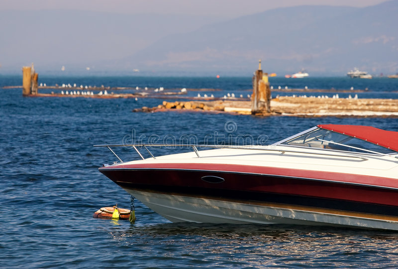 Boat at anchor royalty free stock image