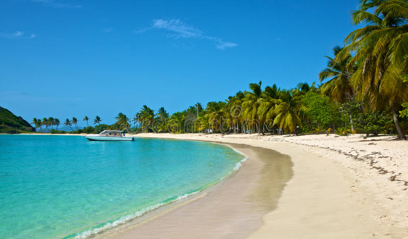 Download Boat At Anchor In Caribbean Harbor Stock Image - Image: 28561205