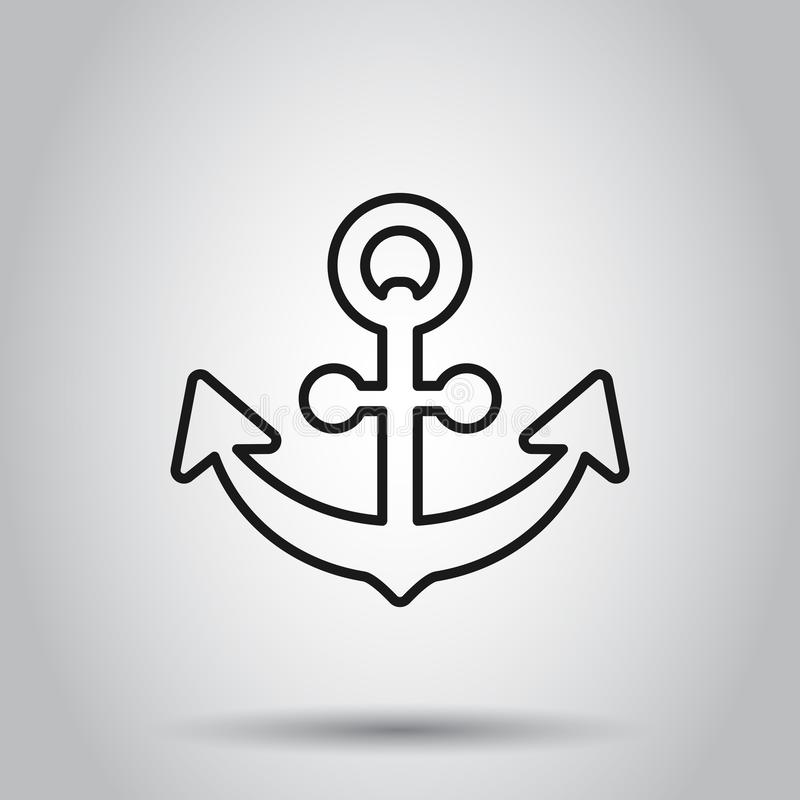 Boat anchor sign icon in flat style. Maritime equipment vector illustration on isolated background. Sea security business concept.  vector illustration