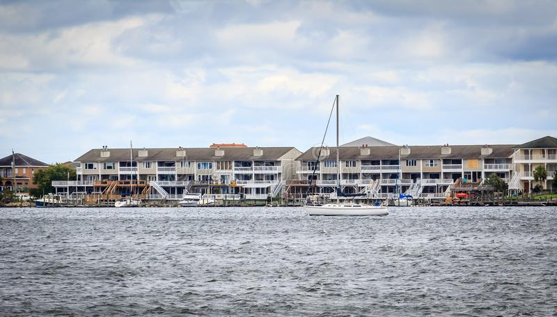 Boat anchored on Choctawhatchee Bay in Ft. Walton Beach, Florida. As Hurricane Irma makes landfall further south. Image taken 10 September 2017 royalty free stock photos