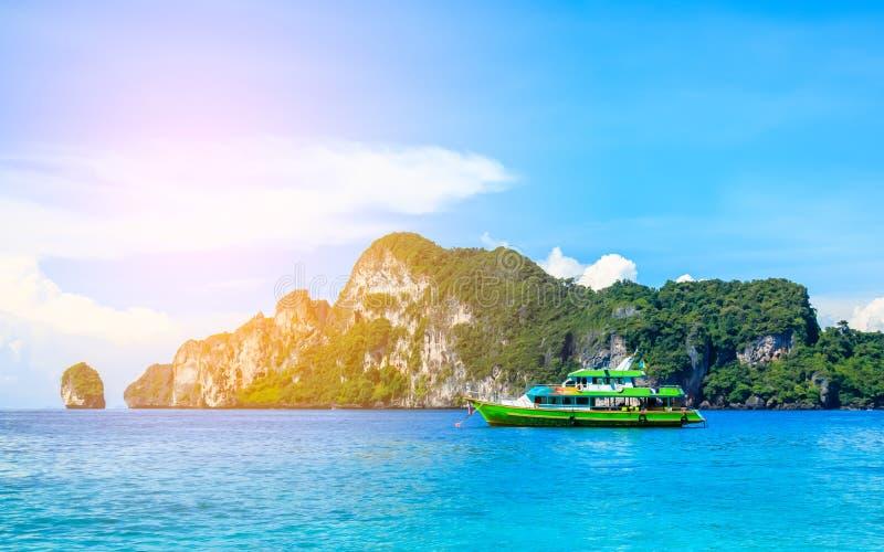 The boat in andaman sea Phi Phi Islands Krabi Thailand. royalty free stock photo