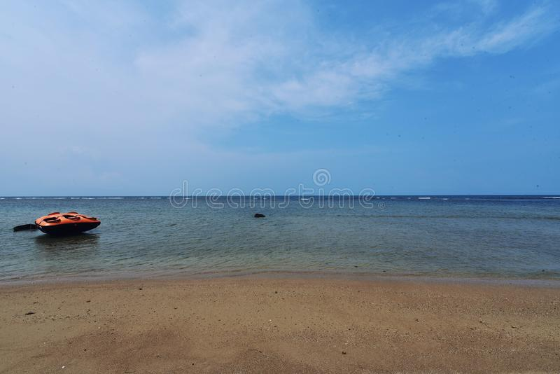Boat Anyer Beach. Anyer Beach Serang Banten royalty free stock images