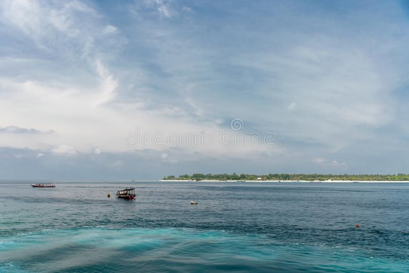Boat as the sea on Bali island in Indonesia royalty free stock photos
