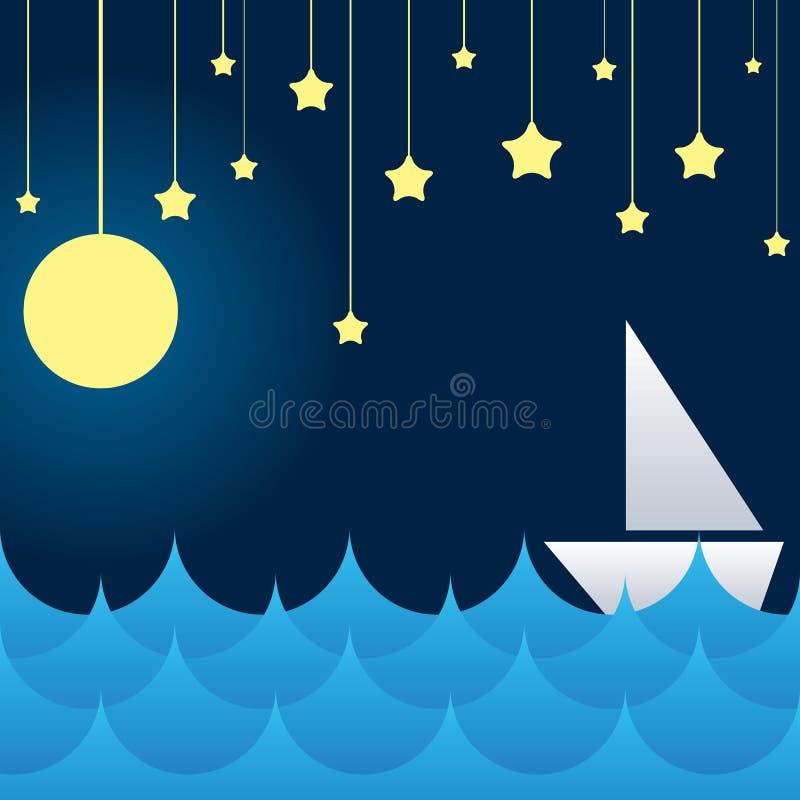 Free Boat At Sea Waves, Moon And Star Stock Photo - 34692910